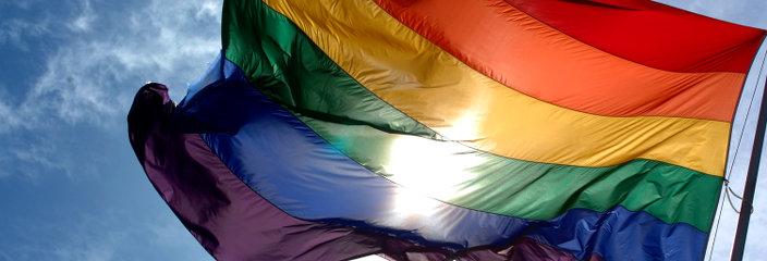 Regenbogenflagge im Wind