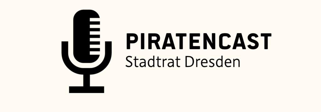 Auf dem Bild sieht man ein Microphon mit der Schrift: Piratencast Stadtrat Dresden