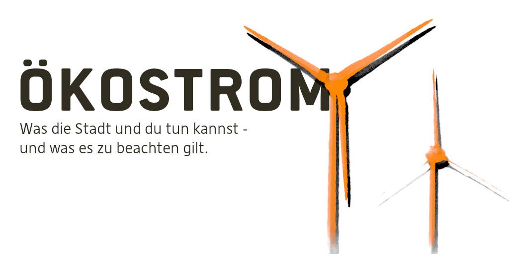 """Auf dem Bild sieht man zwei orange Windräder. Und die Schrift """"Ökostrom""""."""